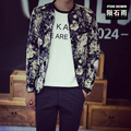 Men's brand clothing korean flower print fashion cotton baseball bomber jacket free shipping