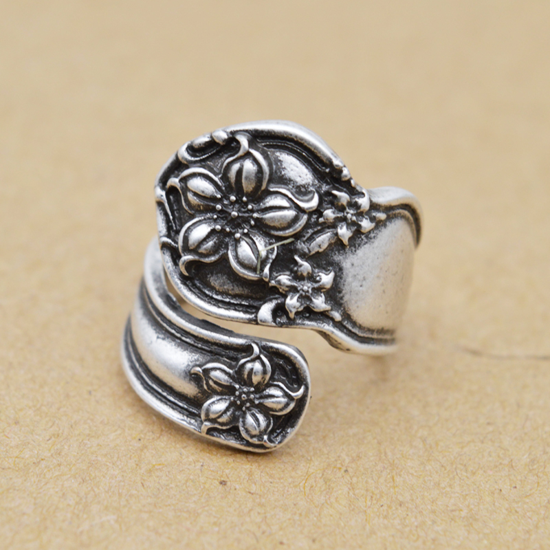 5pcs Antique Silver Flower Adjustable Rings Handmade Spoon Ring For Men Women Resizeble