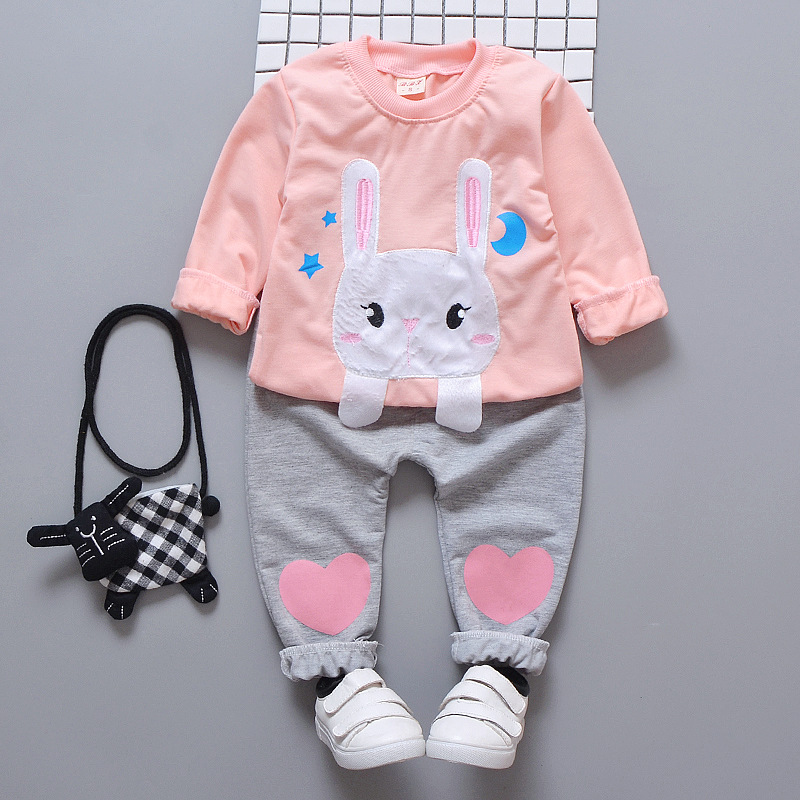2018 Lovely Newborn Baby Girl Clothes Spring Autumn Cartoon Rabbit Long Sleeved Coat Tops+Heart Pants Outfits Kids Bebes Suit