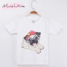 New Fashion Summer Children T-Shirt Pug Dog Print Boys Cotton Short Child Shirt Boy T Shirts Girl Tops Tee Kids Clothes Camiseta