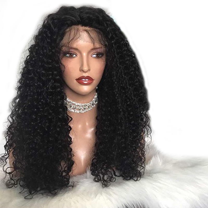 DLME 180% Density Afro Kinky Curly Wigs for Women Synthetic Lace Front Wig with Baby Hair Heat Resistant Hair Wigs for Women