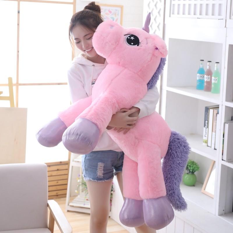 80cm/100cm White Unicorn Plush Toys Giant Unicorn Stuffed Animal Horse Toy Soft Unicornio Peluche Doll Gift Children Photo Props