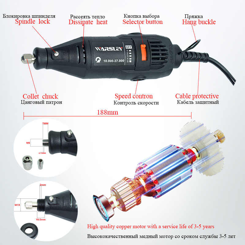 Dremel Mini Trapano Elettrico Incisore Rotary Strumento di Lucidatura Macchina 180W Strumento di Potere a Velocità Variabile Incisione Penna con Accessori