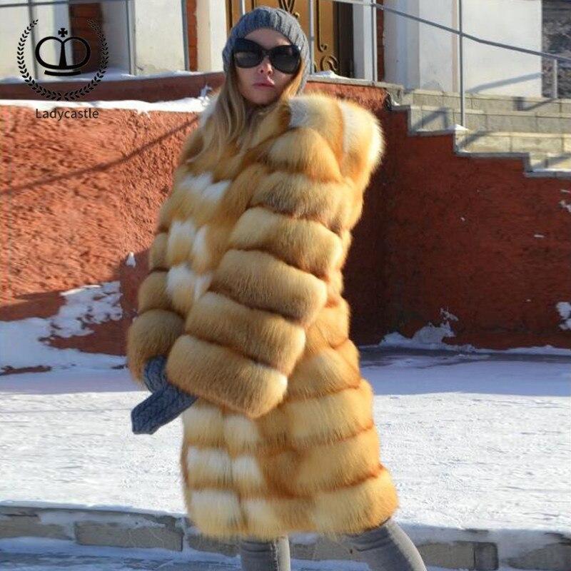 Manteau Pour Femme length La 100cm Naturel 175 Luxe D'hiver Fc Capuche Avec Cuir Toute Rouge Renard Veste Length En Fourrure Femmes Peau Réel 90cm De Véritable FHxUqSYwH