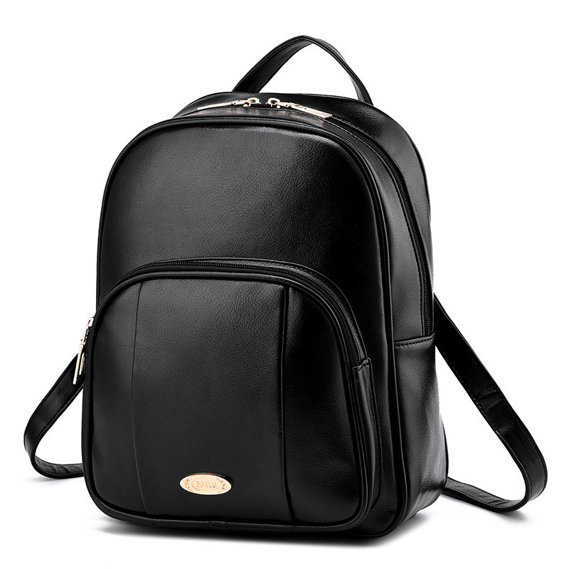 Leisure korean women school backpack feminine pu leather traveling backpacks For Teenage Girls Black bags