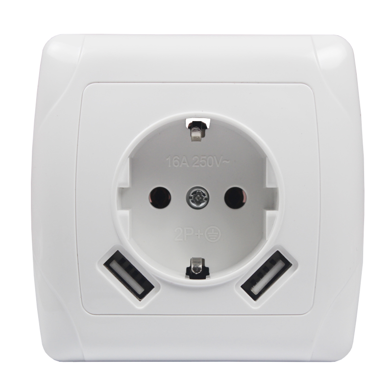 USB Wall Socket charger Free shipping Double USB Port 5V 2A Usb enchufes para pared prise high quality white color LA-01