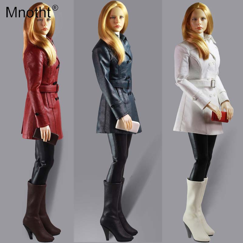 Mnotht 1/6 Classic Women Clothing Leather Coat G001 Female Soldier Model Jacket Clothes Fit   For PH Glue Body Model Toys