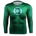 Пространство Солдат Зеленый Фонарь Quick Dry Сетки Вентиляция 3D Печати Супергероя футболка Упражнения С Длинным Рукавом Плотно Прилегающие Прокат Джерси