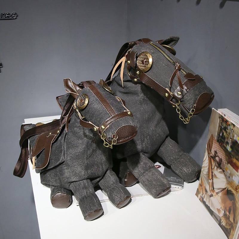 Funny Pony Donkey Horse Bag Lovely Fashion Canvas Crossbody Personality Handbag Shoulder Bag Retro Traveling Bag Gifts
