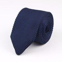 Стиль, модный мужской однотонный цветной галстук, вязаный галстук, обычный тонкий классический тканый галстук, узкие галстуки