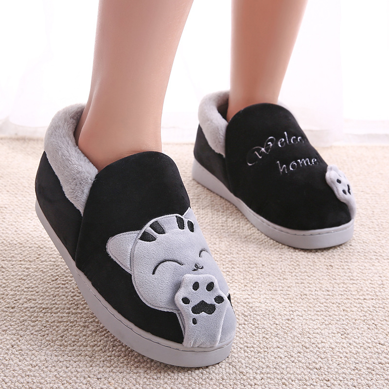 Women Slippers Winter Warm Plush House Slippers Embroidery Lovely Cat Home indoor Shoes Women Lovers Couples Zapatillas Mujer 5