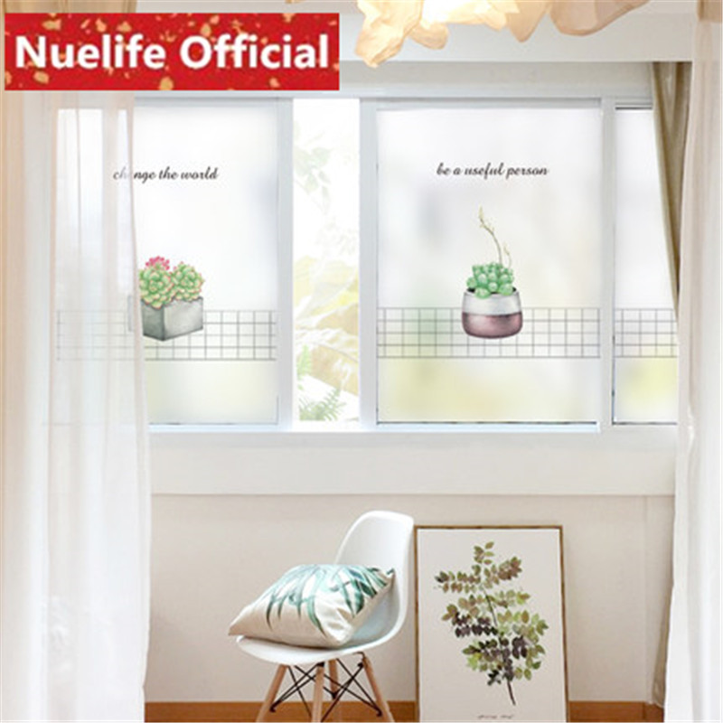 60x90cm Plant small potted pattern frosted window glass film toilet kitchen living room bedroom balcony door glass film