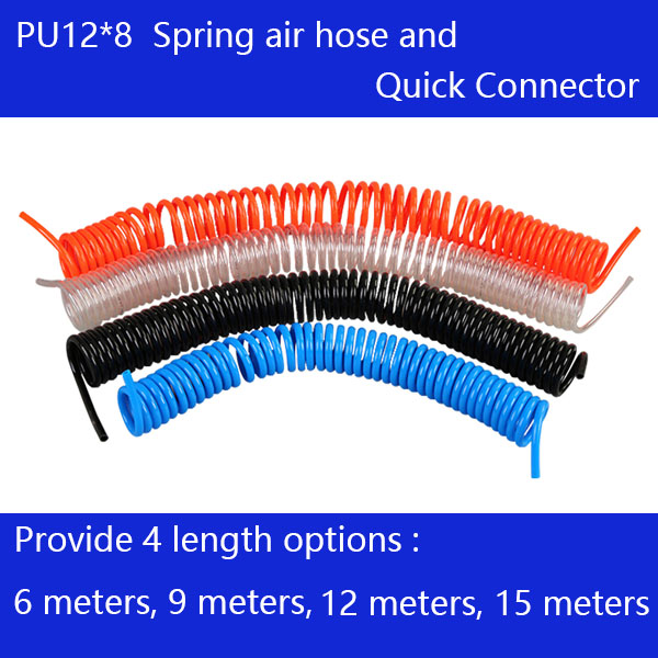 цена на Free shipping PU12*8mm spring air compressor hose and quick detachable connectors, Length 6M ,9M , 12M, 15M Air compressor hose