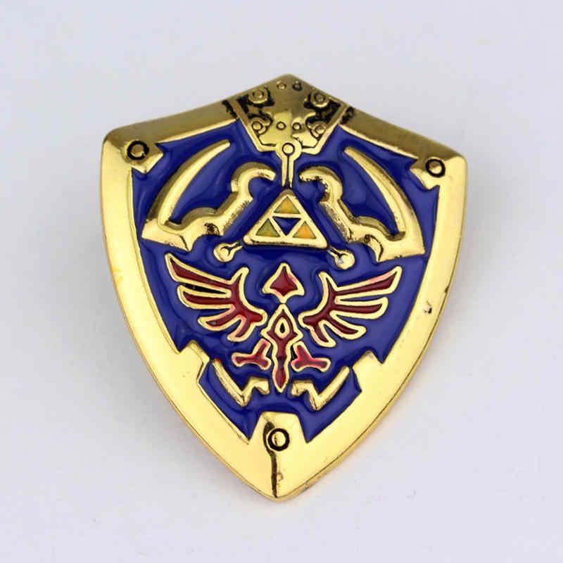 MQCHUN 2 Colori The Legend of Zelda Hyrule Hyrulian Scudo Spille Distintivo Spilla Gioco Caldo Distintivo Medaglia Spille Souvenir Da Collezione