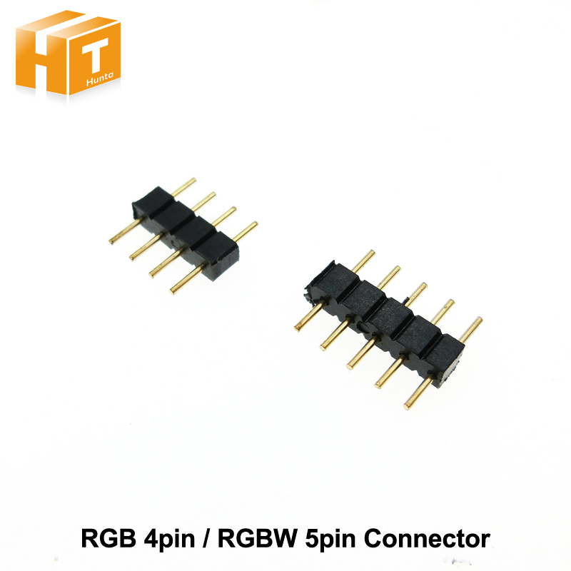 4pin RGB / 5pin RGBW Connector 4pin / 5pin needle for LED strip 10pcs/lot 10pcs lot 2pin 4pin 5pin led strip connector for single rgb rgbw color 3528 5050 led strip to wire connection use terminals