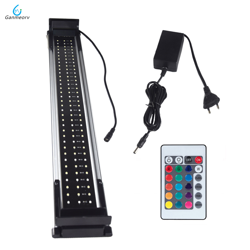 60-80cm RGB LED pour Aquarium éclairage lampe de réservoir de poissons avec supports extensibles télécommande 108 pièces LED s convient pour Aquarium