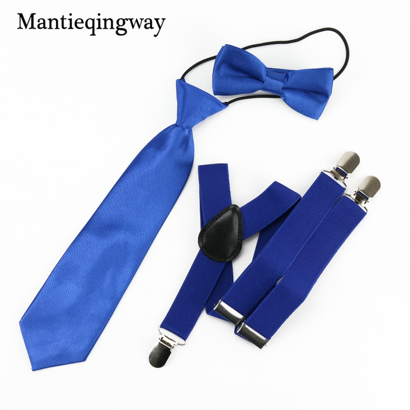 Mantieqingway Fashion Solid Kids Belt Necktie Bow Ties Baby Boys Suspenders Set Shirt School Boys And Girls Adjustable Brace