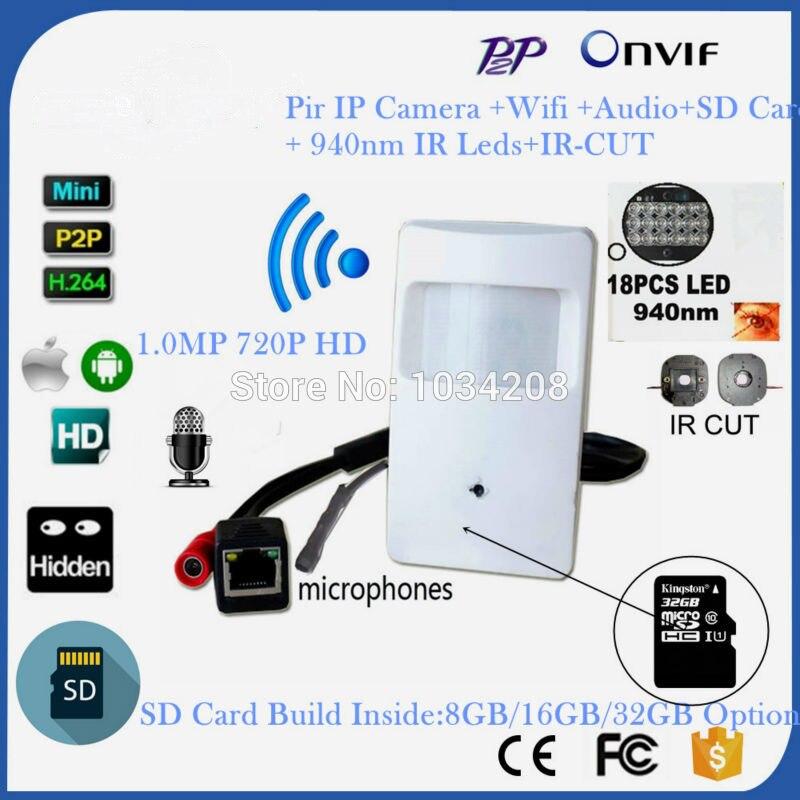 940NM IR Led Audio et vidéo P2P Onvif 720 P IP broche trou WIFI caméra PIR STYLE détecteur de mouvement IR IP caméra sans fil avec carte SD