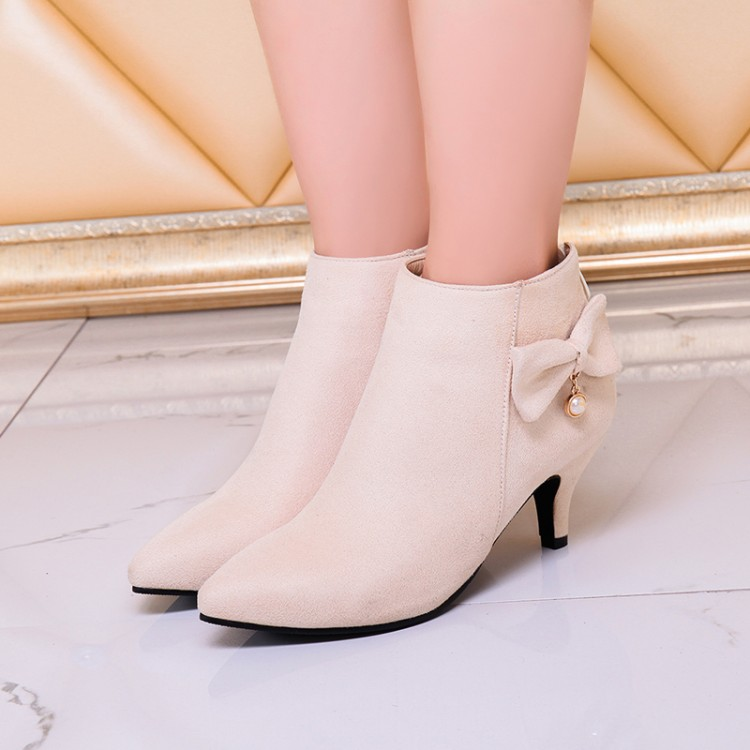 Big Size 9 10 11-17 boots women shoes ankle boots for women ladies boots Bow back zipper pearl pendantBig Size 9 10 11-17 boots women shoes ankle boots for women ladies boots Bow back zipper pearl pendant
