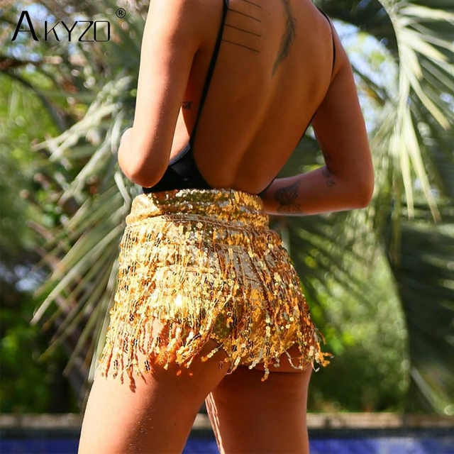 AKYZO 2018 fashion Sequined Tassel short Skirt women Shining elastic waist  zipper Nightclub Wear Lady Beach e79817993c2f