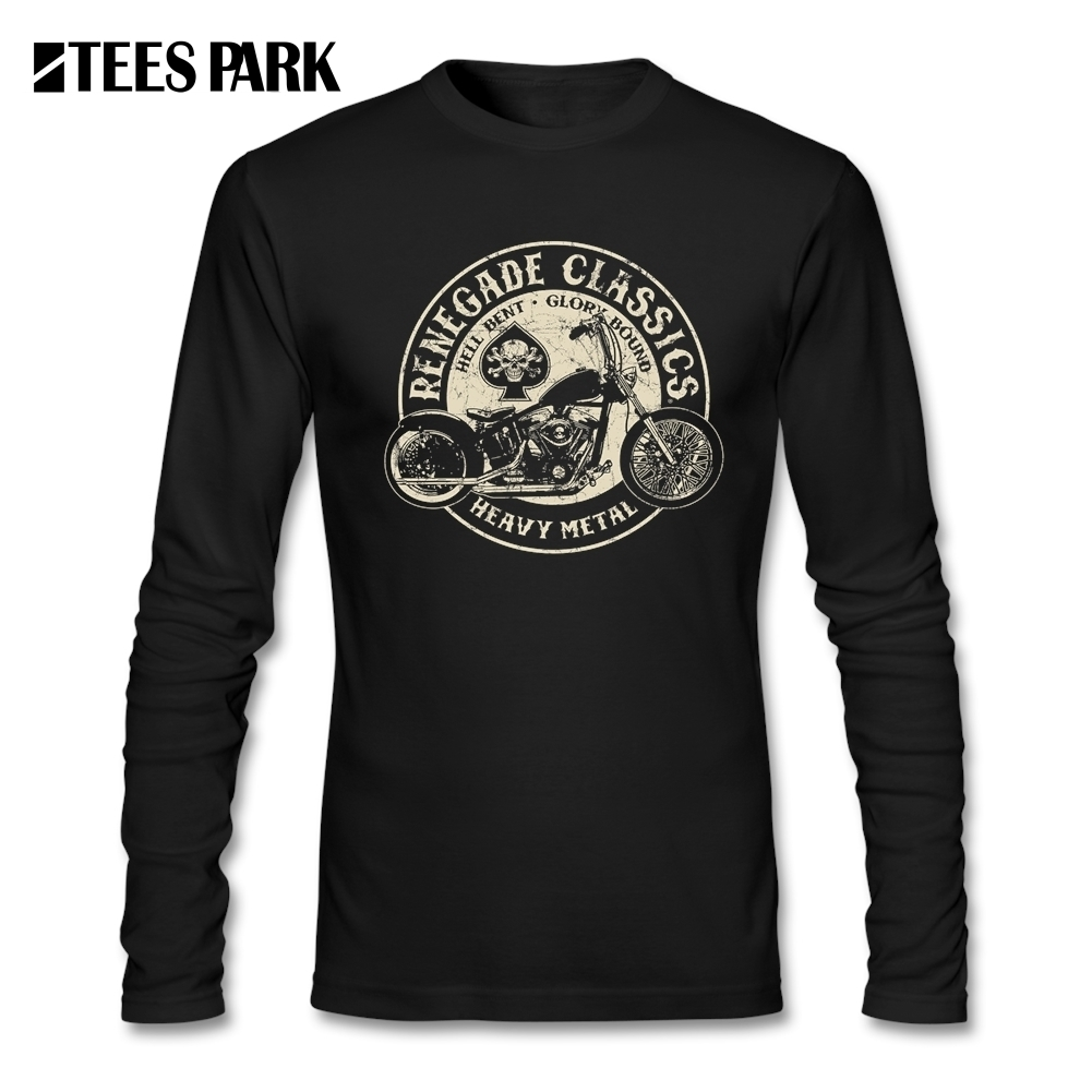T Shirts for Men Glory Bounds Motorcycle USA Round Collar Long Sleeve T-Shirt Hip Hop Tops Tee Men 2017 Male Clothes