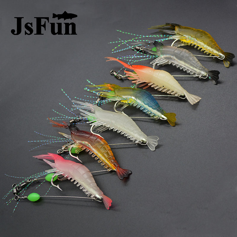 7pcs/lot Silicon Fishing Lures Luminous Shrimp Lures Soft Lures 8cm 5g 7 Color Artificial Baits Carp Fishing Tackle FU402 24pcs luminous squid jigs bait octopus cuttlefish shrimp baits 10 1cm artificial fishing hard lures for octopus pesca tools