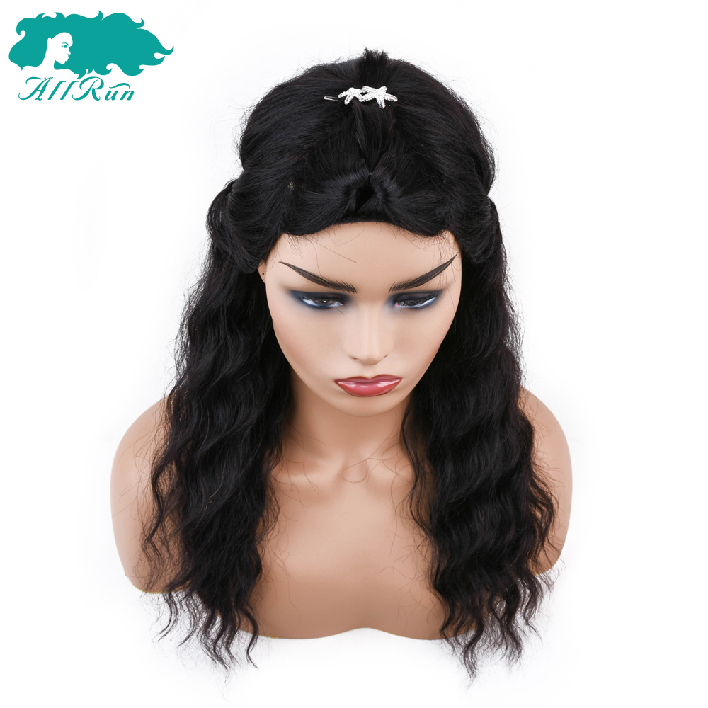 Hair Extensions & Wigs Allrun Brazilian Non Remy Ocean Wave Human Hair Wigs With Adjustable Bangs Human Hair Wigs Full Machine Natural Color