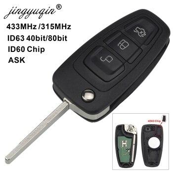 Jingyuqin 3 Botão ID63 Chip de 433/315 MHZ Virar Controle Remoto Chave Keyless Entry Fob Para Ford Focus Fiesta PEDIR Sinal HU101 Lâmina