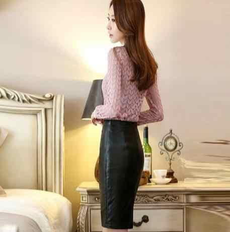 中空アウト女性の長袖レースブラウスシャツスリムプラスサイズ衣類社会女性レーストップスlaidesシフォンシャツe218