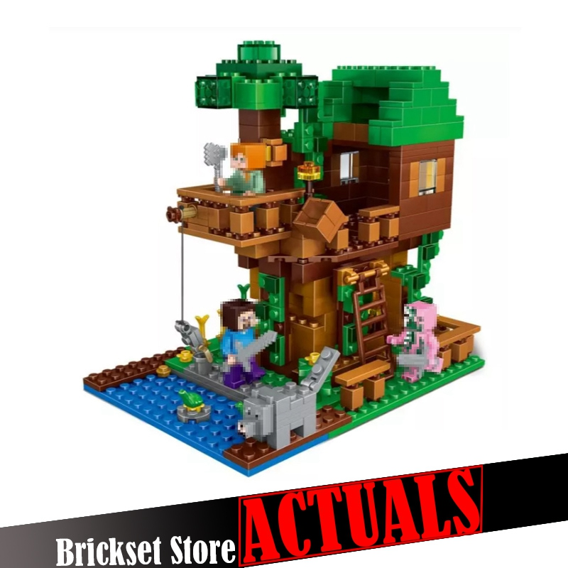 цена на LEPIN 406pcs My World The Jungle Tree House Minecraft Figures Building Blocks Bricks Toy for Children Compatible legoingly 21125