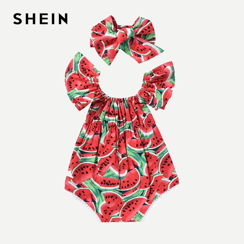 SHEIN Ruffle Boat Neck Headband Cotton Watermelon Print Beach Romper 2019 Spring Korean Fashion Cap Sleeve Kids Girls Bodysuit retro style v neck long sleeve ethnic print self tie belt dress for women