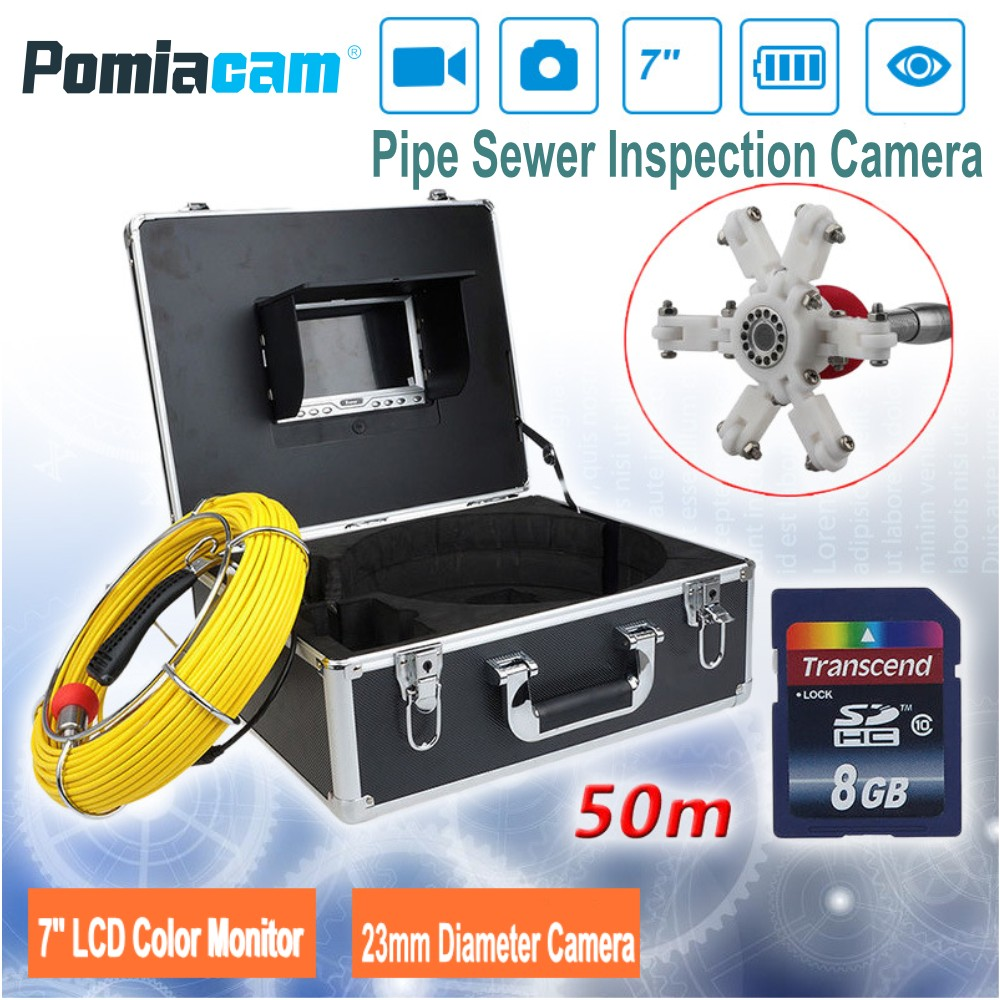 7TFT Monitor Snake Video Camera 7D1 50M Industrial Pipeline Endoscope Camera 23mm Pipe Drain Sewer Inspection Camera System wp90 20m 30m 50m industrial pipeline endoscope 6 5 17 23mm snake video camera 9 lcd sewer drain pipe inspection camera system