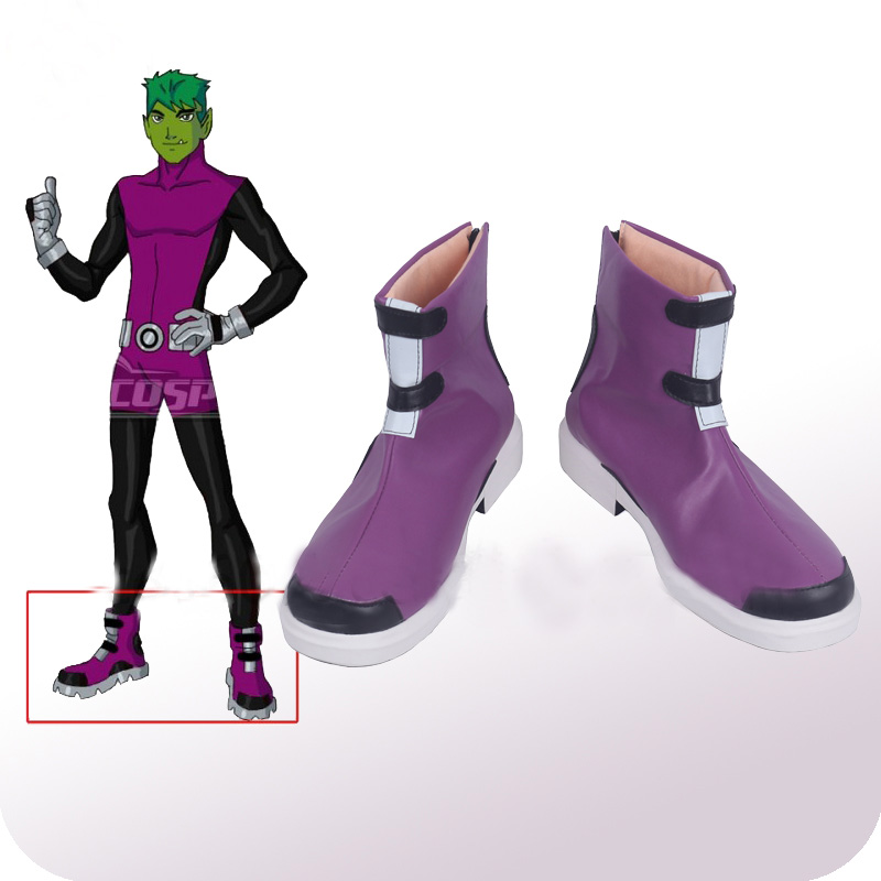 Young Justice Beast Boy Garfield Logan Cosplay Shoes Boots Men's Halloween Carnival Party Costume Accessories
