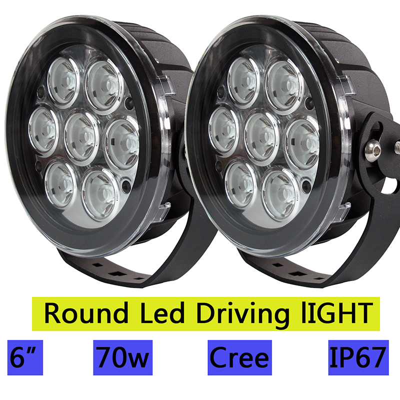 6 inch 70W Led Work Light Round Driving Lamp 12V 24V Spot Bulb Auxiliary Front Bumper