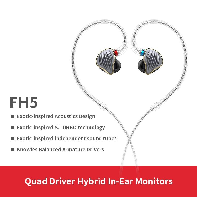 FiiO FH5 Boîtier Métallique Knowles Détachable Câble MMCX Conception Quad Pilote Hybride HIFI Écouteur 3.5mm pour iOS et Android ordinateur PC