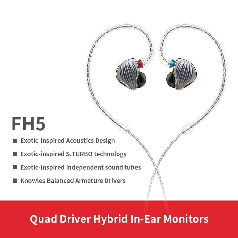 FiiO FH5 Cassa del Metallo Knowles Staccabile Cavo MMCX Disegno Quad Driver Hybrid HIFI Trasduttore Auricolare di 3.5mm per iOS e Android computer PC