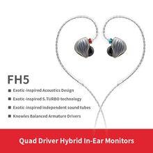 FiiO FH5 โลหะ Knowles ที่ถอดออกได้สาย MMCX ออกแบบ Quad DRIVER HYBRID HIFI หูฟัง 3.5 มม.สำหรับ iOS และ Android คอมพิวเตอร์ PC