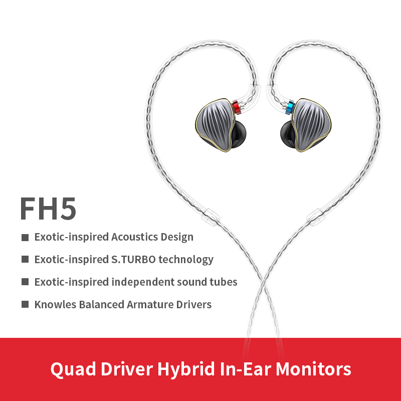 FiiO FH5 Metal Case Knowles Detachable Cable MMCX Design Quad Driver Hybrid HIFI Earphone 3.5mm for iOS and Android Computer PC