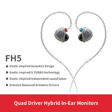 FiiO FH5 Metal Case Knowles Detachable Cable MMCX Design Quad Driver Hybrid HIFI Earphone 3.5mm for iOS and Android Computer PC(China)