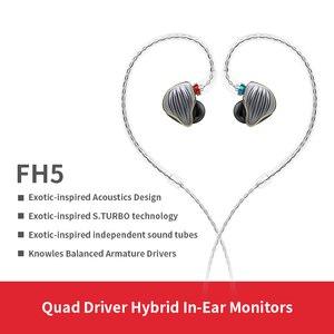 Image 1 - FiiO FH5 auriculares híbridos HIFI con carcasa de Metal, Cable desmontable, diseño MMCX, controlador cuádruple, 3,5mm, para iOS y ordenador Android PC