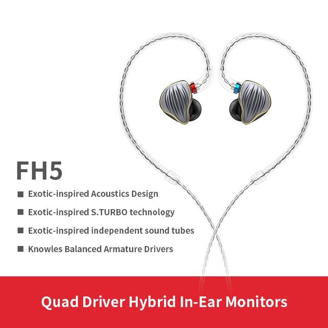 FiiO FH5 auriculares híbridos HIFI con carcasa de Metal, Cable desmontable, diseño MMCX, controlador cuádruple, 3,5mm, para iOS y ordenador Android PC