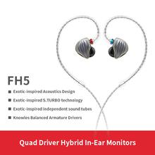 FiiO FH5 metalowa obudowa Knowles odłączany kabel MMCX Design Quad Driver hybrydowe słuchawki hi-fi 3 5mm na iOS i komputer z systemem Android PC tanie tanio Technologia hybrydowa Przewodowy Ucho 112dBdB Brak 1 2mm Dla Telefonu komórkowego Do Gier Wideo Monitor Słuchawkowe Słuchawki HiFi