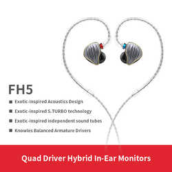 FiiO FH5 Metal Case Knowles Detachable Cable MMCX Design Quad Driver