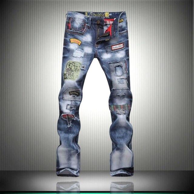 2016 новый популярный стиль отверстие патч патч нищие Тонкий джинсы брюки мужчины мужская большой размер мужской моды брюки 8037