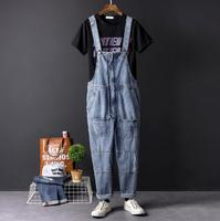 Europe and the United States hip hop tide male denim jumpsuits retro gall tide men's overalls Korean straight siamese pants