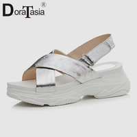 DoraTasia 2019 New Fashion Summer Flat Platform Sandals Women Genuine Leather Casual Wedges Light Summer Beach Shoes Woman