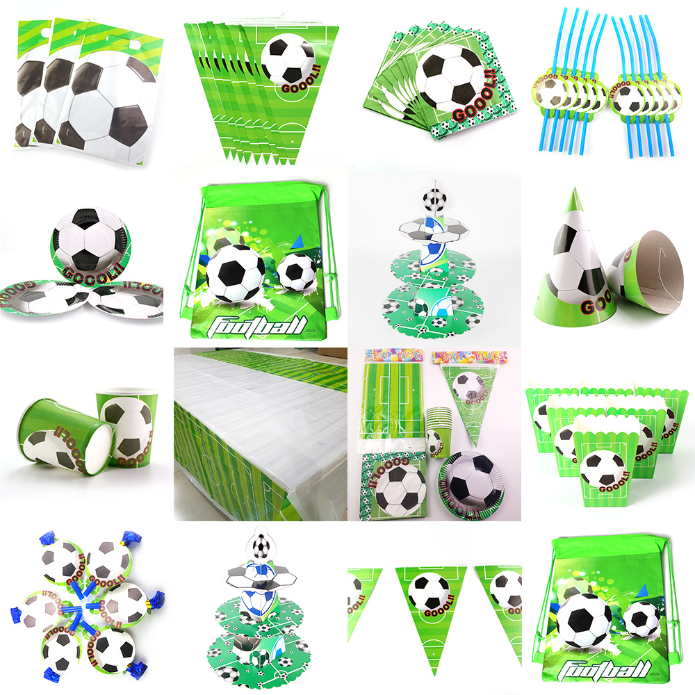 Football Soccer Theme Kids Birthday Party Decoration Set Party Supplies Cup Plate Banner Hat Straw Loot bag Tablecloth Blowout