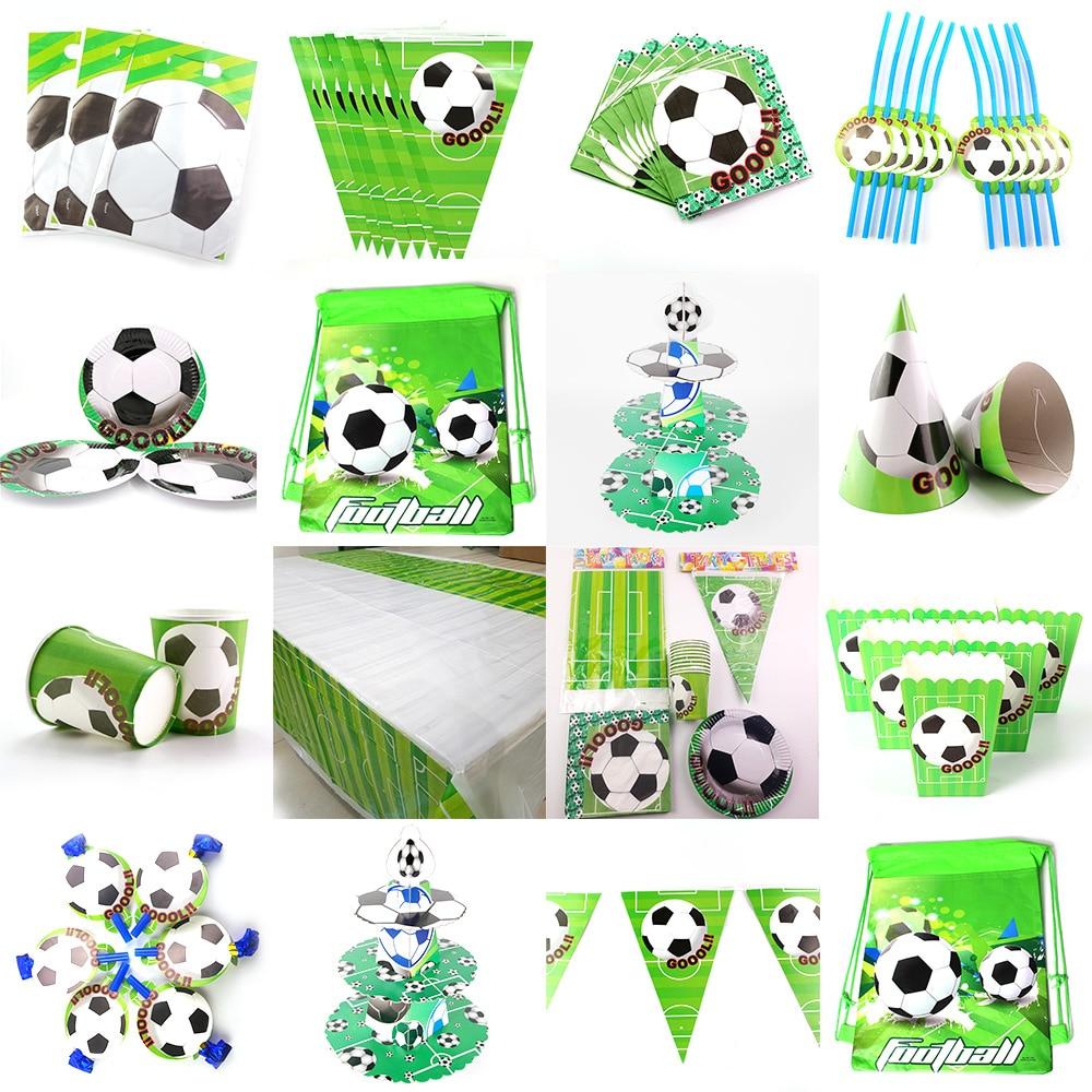 Футбол тема футбола Детские День рождения Декорации для вечеринок баннер на тарелке, чашке шляпа соломенная там мешок с подарками скатерть ...