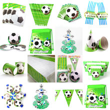 Voetbal Thema Kids Birthday Party Decoration Set Feestartikelen Cup Plaat Banner Hoed Stro Loot Bag Tafelkleed Blowout(China)