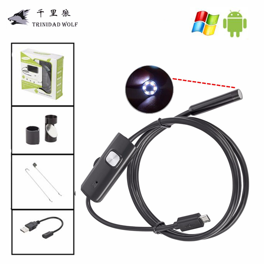 TRINIDAD WOLF 7MM 6 LED Lens USB PC Android Endoscope Waterproof Endoscopy Inspection Borescope Camera with